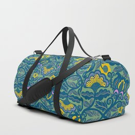 Blue Vines and Folk Art Flowers Pattern Duffle Bag