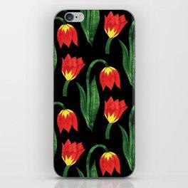 Hand painted orange yellow green watercolor tulips pattern iPhone Skin
