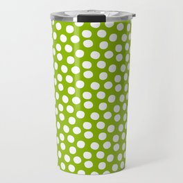 White Polka Dots on Fresh Spring Green - Mix & Match with Simplicty of life Travel Mug
