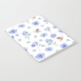 Elegant lavender brown watercolor honey bee floral Notebook