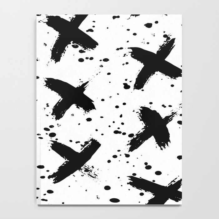 X Paint Spatter Black and White Notebook