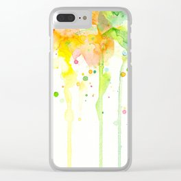 Rainbow Watercolor Pattern Texture Clear iPhone Case