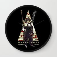 planet of the apes Wall Clocks featuring Mafia apes by Luiz Fogaça