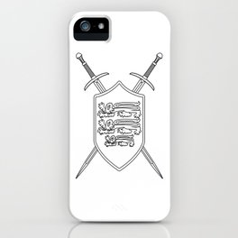 Crossed Swords and Shield Outline iPhone Case