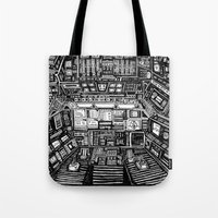 cabin Tote Bags featuring Lost cabin 666 by Marcelo Romero
