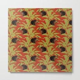 Black Panthers on  Red. Metal Print