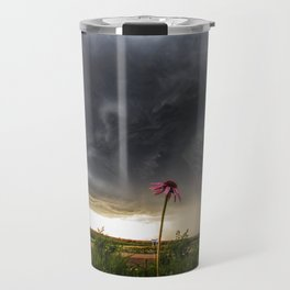 Stay Strong - Flowers Brace for Incoming Storm in Kansas Travel Mug