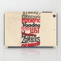 movie posters iPad Cases featuring B Movie Beware by ochre7