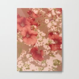 Red Petunias With Sweet White Flowers Metal Print