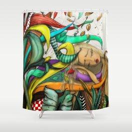 Blond Girl Sleeping Illustration Shower Curtain