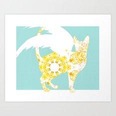 Flight of the Cat - Turquoise & Yellow Art Print