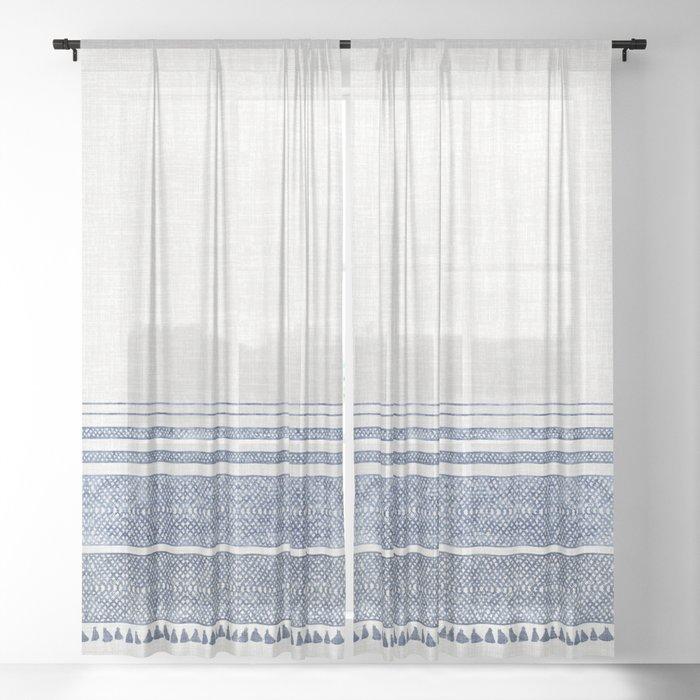 FRENCH LINEN CHAMBRAY TASSEL Sheer Curtain