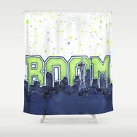 seahawks Shower Curtains featuring Seattle Legion of Boom Space Needle Skyline Watercolor  by Olechka