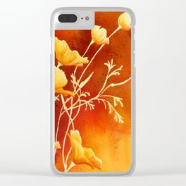 Golden Poppies Clear iPhone Case