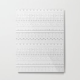 Hand Drawn African Patterns - Neutral Grey Metal Print