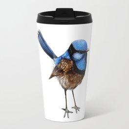 Blue Wren II on White Travel Mug