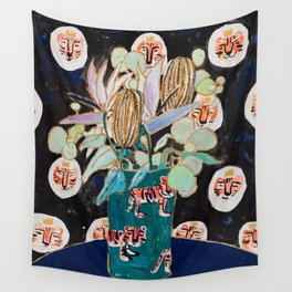 Dark Floral Still Life with Banksia Pods and Tigers Wall Tapestry