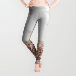 Warm chromatic - rose gold marble Leggings