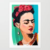frida Art Prints featuring Frida by Jaleesa McLean