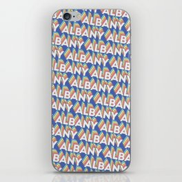 Albany, New York Trendy Rainbow Text Pattern (Blue) iPhone Skin
