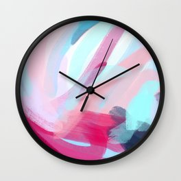 Pastel Abstract Brushstrokes Graphic Wall Clock
