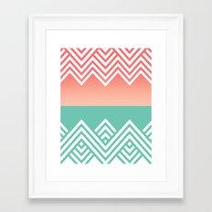 Aqua and Coral Chevron Framed Art Print