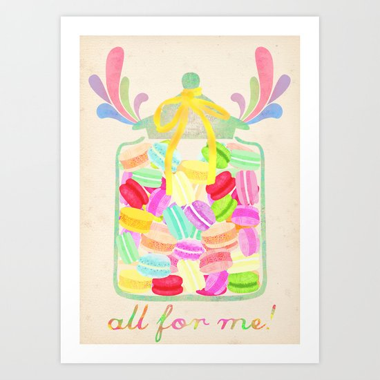 jar of macarons Art Print