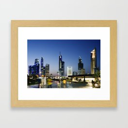 Kuwait City Skyline blur Framed Art Print