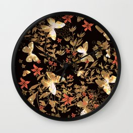 Golden butterfly in the night. Wall Clock