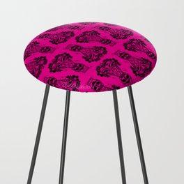 Power Tiki Girl - Hibiscus - Hot Pink Counter Stool