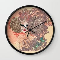 moustache Wall Clocks featuring Moustache by daniela grigore