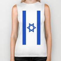 israel Biker Tanks featuring Flag of Israel by Neville Hawkins