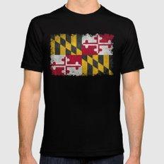 Maryland State flag - Vintage retro style Mens Fitted Tee MEDIUM Black