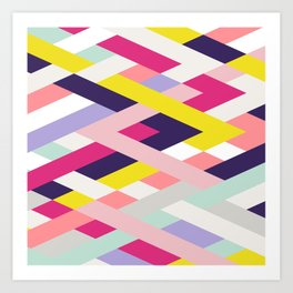 Smart Diagonals Blue Art Print