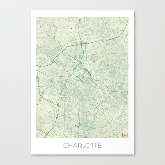 Charlotte Map Blue Vintage Canvas Print