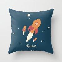 rocket Throw Pillows featuring Rocket by Jane Mathieu