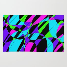 Bright colors modern graphic art pink, lime green, black, turquoise Rug