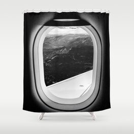 Window Seat // Scenic Mountain View from Airplane Wing // Snowcapped Landscape Photography Shower Curtain
