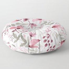 Rustic Floral - Watercolor Flowers Burgundy Pink Floor Pillow