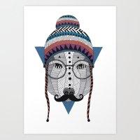moustache Art Prints featuring Moustache by Document