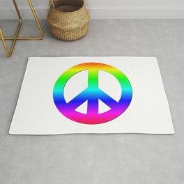 Bright Neon Rainbow CND Peace Symbol Rug