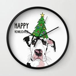 Happy Howlidays Great Dane Wall Clock