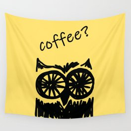 Coffee? Morning owl print Wall Tapestry