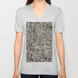 Charcoal Sketch Party People (diptych, part 2) Unisex V-Neck