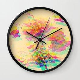 Botanical Flower Glitch Wall Clock