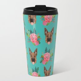 German Shepherd florals bouquet dog breed pet friendly pattern dogs Travel Mug