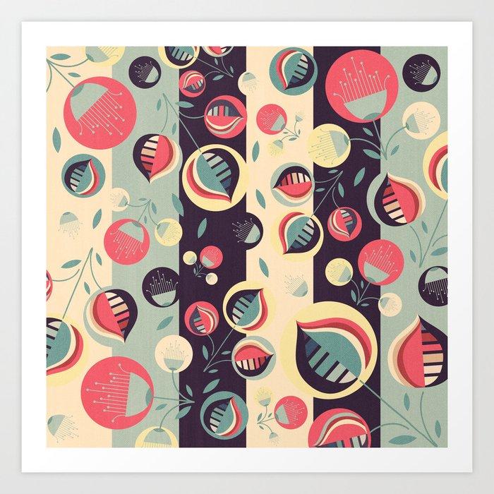 50's floral pattern II Art Print