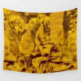 Apocalyptic standing stones and abandoned car Wall Tapestry