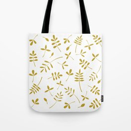 Gold Leaves Design on White Tote Bag