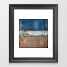 Metallic Square Series II - Navy and Copper Framed Art Print